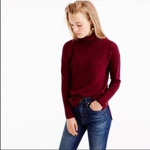 J Crew Merino Wool Burgundy Red Turtleneck Sweater